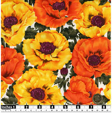 Quilting Fabric Large Yellow & Orange Poppies White BG Fat Quarters 100% Cotton