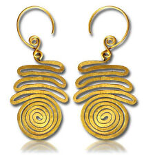 "PAIR 18g (1MM) 2"" 1/4 INCH LONG (55MM) HAND FORGED BRASS PLUGS EARRINGS SPIRALS"
