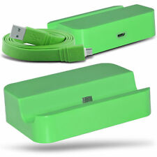 Green Micro USB Desktop Charging Dock & Data Cable For Samsung Galaxy Ace 4