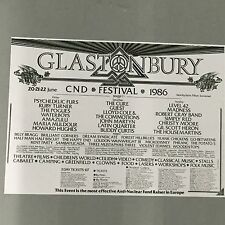 GLASTONBURY FESTIVAL 1986 CONCERT POSTER (A3 SIZE)  ROBERT CRAY CHRISTY MOORE