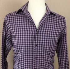 Thomas Pink Purple Gingham Slim Fit Cotton Long Sleeve Shirt Size 16 EUC*