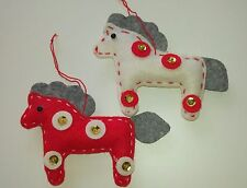JOB LOT 30 x HORSE handcrafted felt Christmas tree decorations RED WHITE sequin