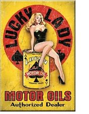 New Lucky Lady Motor Oil Pin Up Miniature Metal 2 inch X 3 inch Sign Magnet