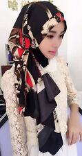 Women Muslim Hijab Cap Silk Digital Printing Lady Islamic Arab Shawls Long Scarf