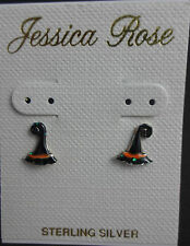 Witch hat earrings small sterling silver.925  hand painted black studs Halloween