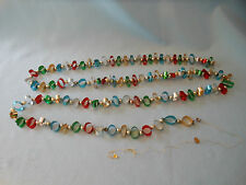 Vtg Christmas garland foil mylar multi color mercury glass beads approx 80""