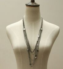 Lucky Brand Crystal Pyramid Multi Strands Silver Bohemian Statement Necklace NWT