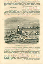 Labourage France Charrue Soc Dombasle/Howard/Bella/ Bodin GRAVURE OLD PRINT 1859