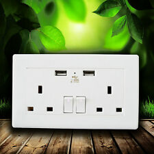 NEW 13A Double Electric Wall UK Plug white Sockets With 2 USB port Outlets