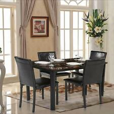 IKAYAA 5PCS Kitchen Dining Set Table and 4 Chair Marble-like Furniture US R4C2