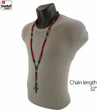 Men's Hip Hop 8mm RED Bead Black Rosary Pray Hand & Jesus Cross Necklace BKRD