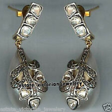 Vintage Estate 2.28Cts Rose Antique Cut Diamond 925 Silver Pearl Earring Jewelry