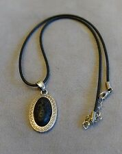 Volcanic Lava Rock Oval Pendant Necklace~Sterling Silver Greek Key Border~Stibas