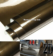 "120"" x 24"" Car High Gloss 2D Carbon Fiber Vinyl Wrap Film Sticker Brown h"