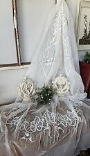 Uncut Antique French Net Lace Embroidered Tulle BRIDAL VEIL Wedding Heirloom