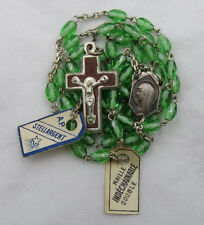 † NWT OLD STOCK VINTAGE SCAPULAR CENTER OVAL FACTED GREEN GLASS ROSARY W/ TAGS †