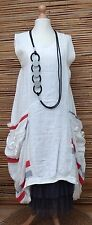 LAGENLOOK*LINEN BEAUTIFUL QUIRKY LARGE POCKETS LONG DRESS*WHITE* Size 48-50