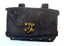 Steam Punk Black Leather Pouch with Bronze Buckles NEW