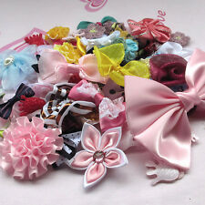 Hot 50pcs Ribbon Bows Flowers Appliques Craft Lots Mix Wedding Decoration AM3