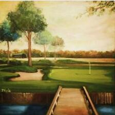 "Florida Golf Landscape Oil Painting 24 x 24"" Square Canvas"