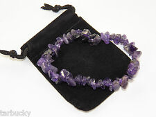 Lovely Gift!  AMETHYST Gemstone Chip BRACELET with Free Pouch #1102D-FS