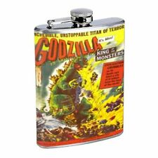 GODZILLA STAINLESS STEEL 8oz FLASK D 255 Whiskey Drinking Brandi