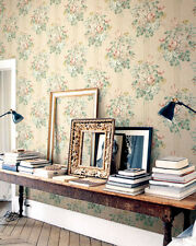 Traditional Victorian Vintage Blue Green Pink Gold Creme Floral Wallpaper DIY
