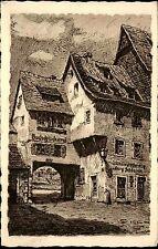 WÜRZBURG Bayern alte Postkarte 1941 Künstlerkarte Holztor Partie Dt. Reich AK