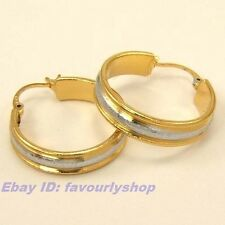 "0.98"" 8G TWOTONE CIRCLE 18K YELLOW/WHITE GOLD PLATED HOOP EARRING GEP GP 4344e"