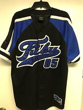 Vintage FUBU League 05 Classic Collection Baseball Jersey Blue Black Large L