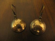 ORIGINAL HANDMADE ANTIQUE U.S. 1 CENT(1859-1909) COPPER COIN EARRINGS