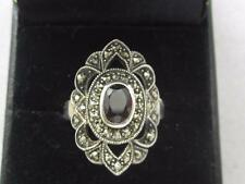VTG ART DECO REVIVAL RED TOURMALINE & MARCASITE STERLING SILVER RING - SIZE 7.75