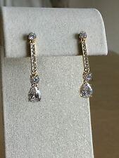 Nadri Cubic Zirconia Pave Bar Teardrop Earrings, Gold-tone, NWT $55