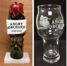 """Angry Orchard Hard Apple Cider Tap Handle 8"""" & Two(2) Angry Apple Glasses NEW FS"""