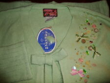 NWT April Cornell Green Cardigan Knit Sweater New S Small Vintage Romantic Bow
