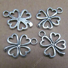 20x Tibetan Silver Heart Clovers Pendant Charms  Accessories Wholesale PL089
