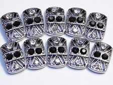 10 - 2 HOLE SLIDER OR SPACER BEADS ORNATE JET & CLEAR CRYSTAL STUDDED