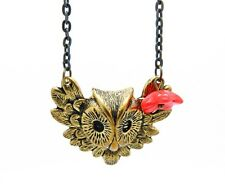 Antiqued Brass Owl & Feathers Charm Czech Red Flower Bead Chain Necklace