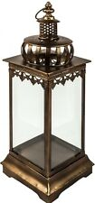 Lantern Antique Gold Moroccan Style TALL Ornate Metal Pillar Candle Holder NEW
