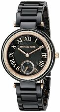 MICHAEL KORS WOMENS BLACK CERAMIC PETITE ROSE GOLD TONE ACCENT WATCH MK6242