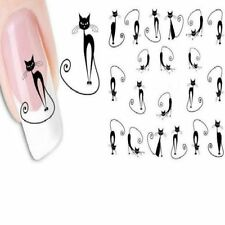 Fashion DIY Black Cat Nail Art Water Transfer Slide Decals Sticker Tips