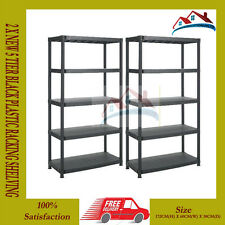 2 X NEW 5 TIER BLACK PLASTIC RACKING SHELVING SHELVES RACK STORAGE SHELF UNIT