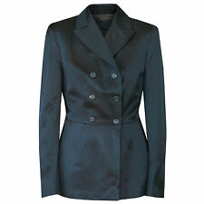 PRADA double breasted fitted fuzzy sateen black brown blazer jacket 44-IT/8-US