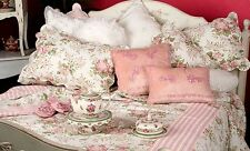 """Shabby Chic Queen Bedspread Set Throw Quilt French Country 265x285cm 104x122"""""""