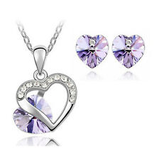 Violet Heart Crystal Pendant Necklace Chain and Earrings Wedding Jewellery Set
