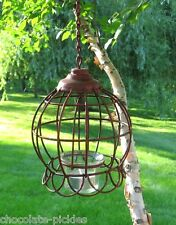 Hanging Lantern CANDLE HOLDER*Farmhouse Barn RED*Primitive/French Country Decor