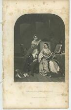 ANTIQUE ELIZABETHAN COSTUME SONG MIRROR LUTE BEAUTIFUL WOMAN DISTRESSED PRINT