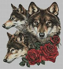WOLVES AND ROSES - CROSS STITCH CHART