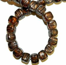G1394 Topaz Brown w Copper Glitter 9-11mm Square Cube Lampwork Glass Beads 16""