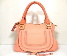 Authentic Chloe Beige Medium Marcie Leather Handbag w/ Shoulder Strap
